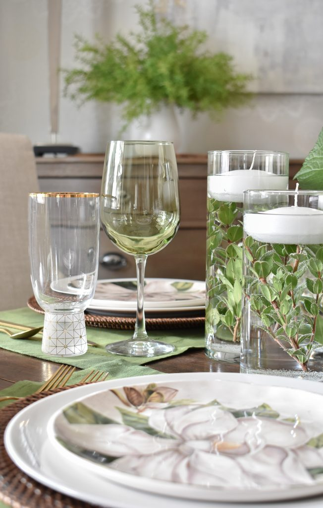Simple Spring Green and White Tablescape Ideas - Home with Holliday