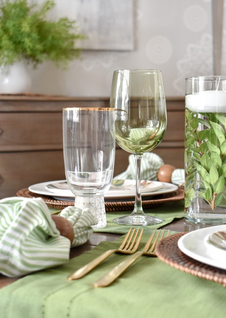 Simple Spring Green and White Tablescape Stemware - Home with Holliday
