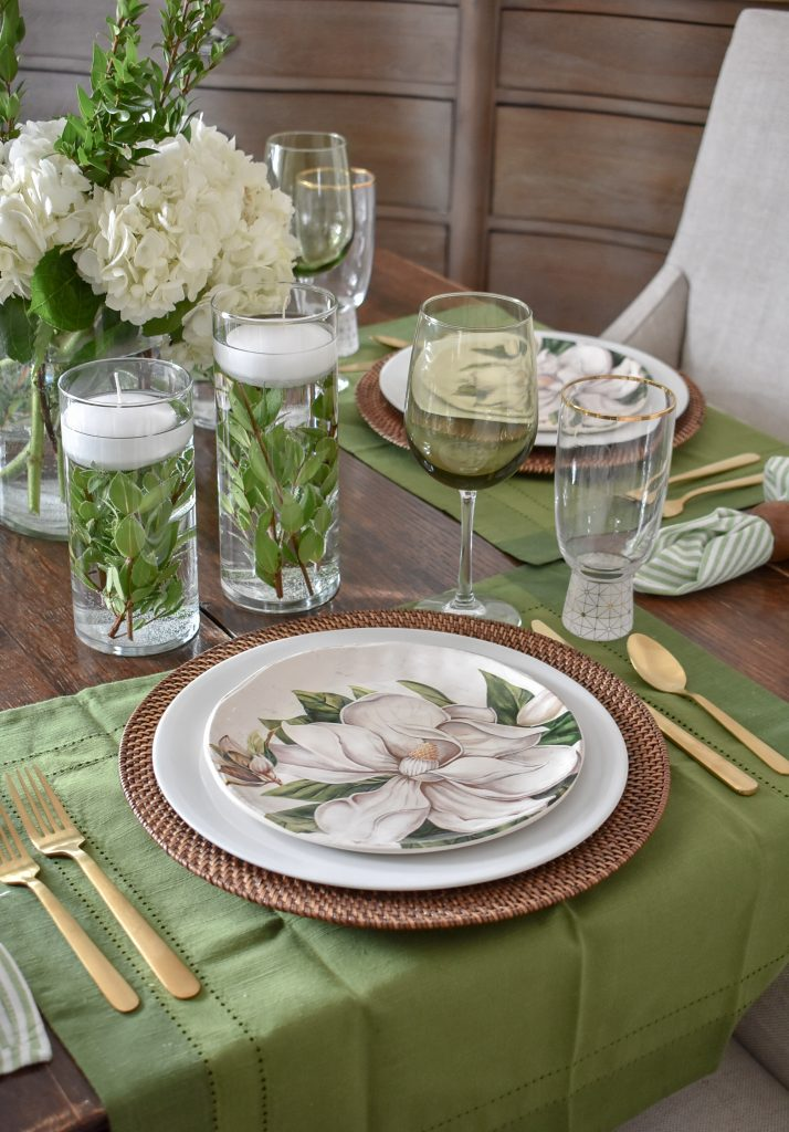 Ideas for a Simple Spring Green and White Tablescape - Home with Holliday