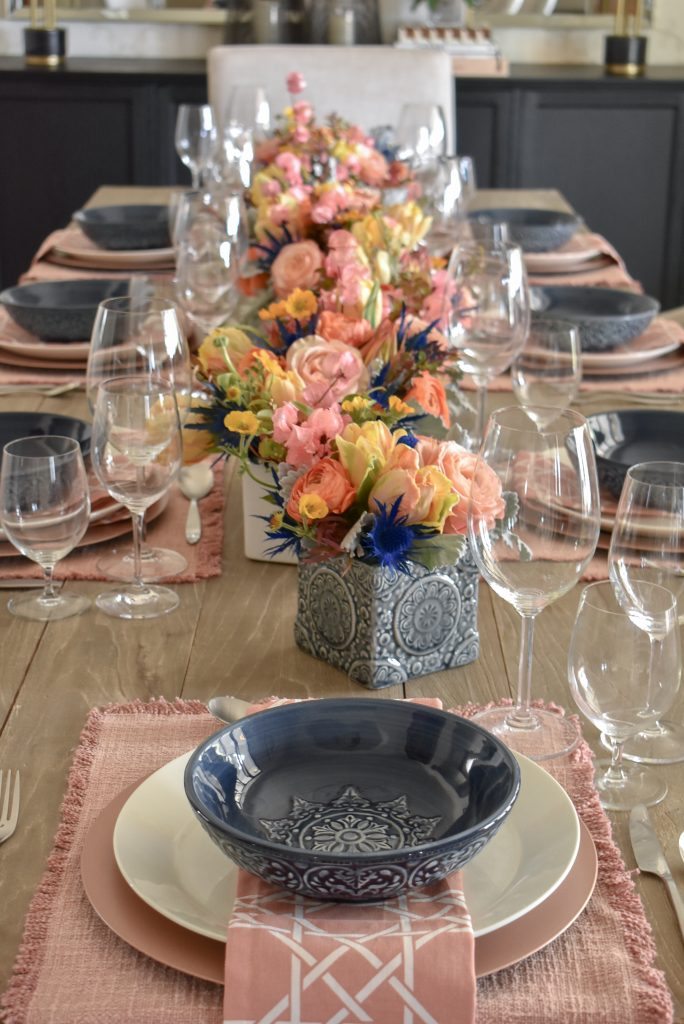 Simple Blush Pink and Blue Spring Tablescape - Home with Holliday