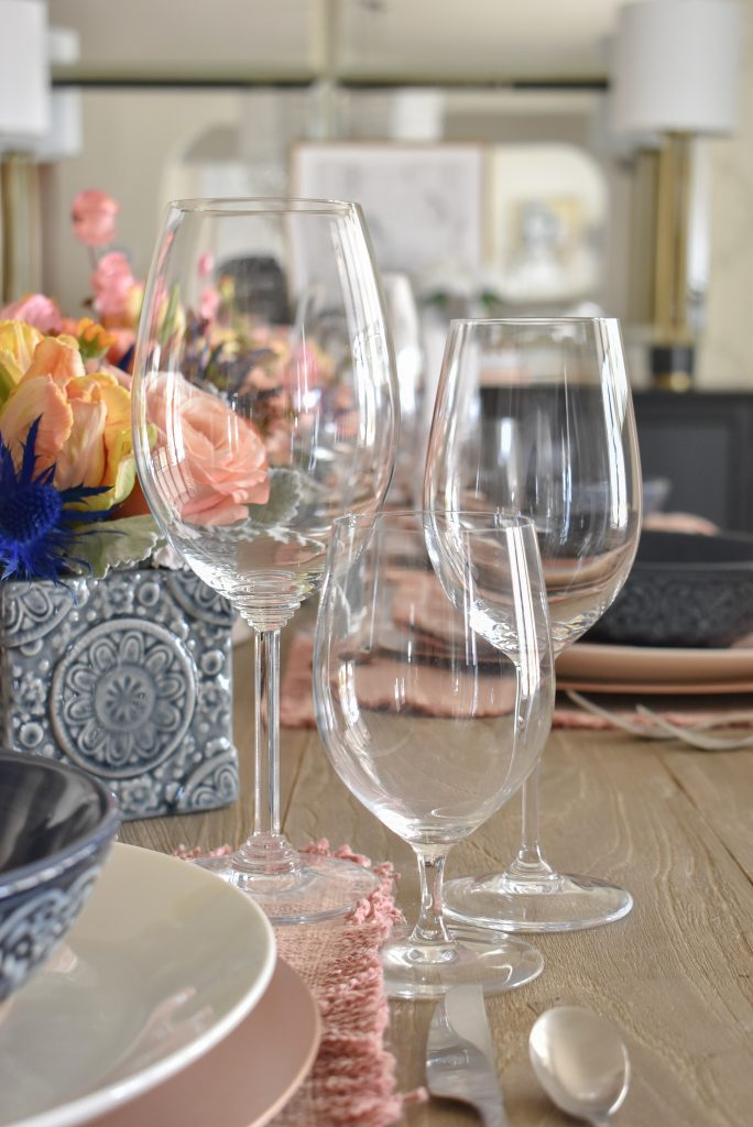 Blush Pink and Blue Spring Tablescape Stemware - Home with Holliday