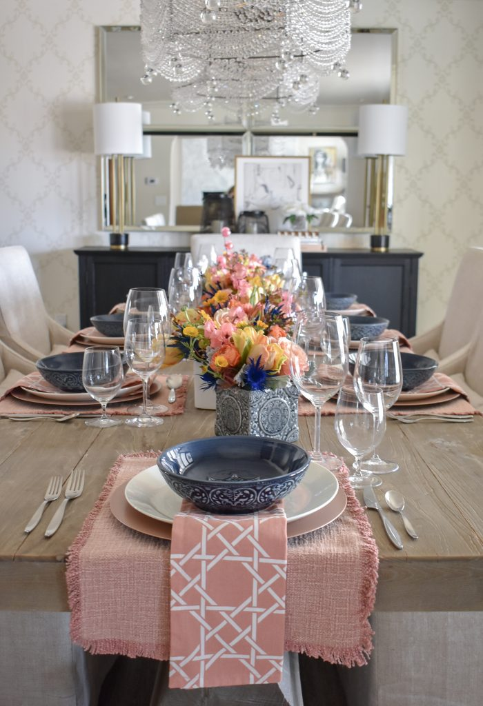 Beautiful Blush Pink and Blue Spring Tablescape - Home with Holliday