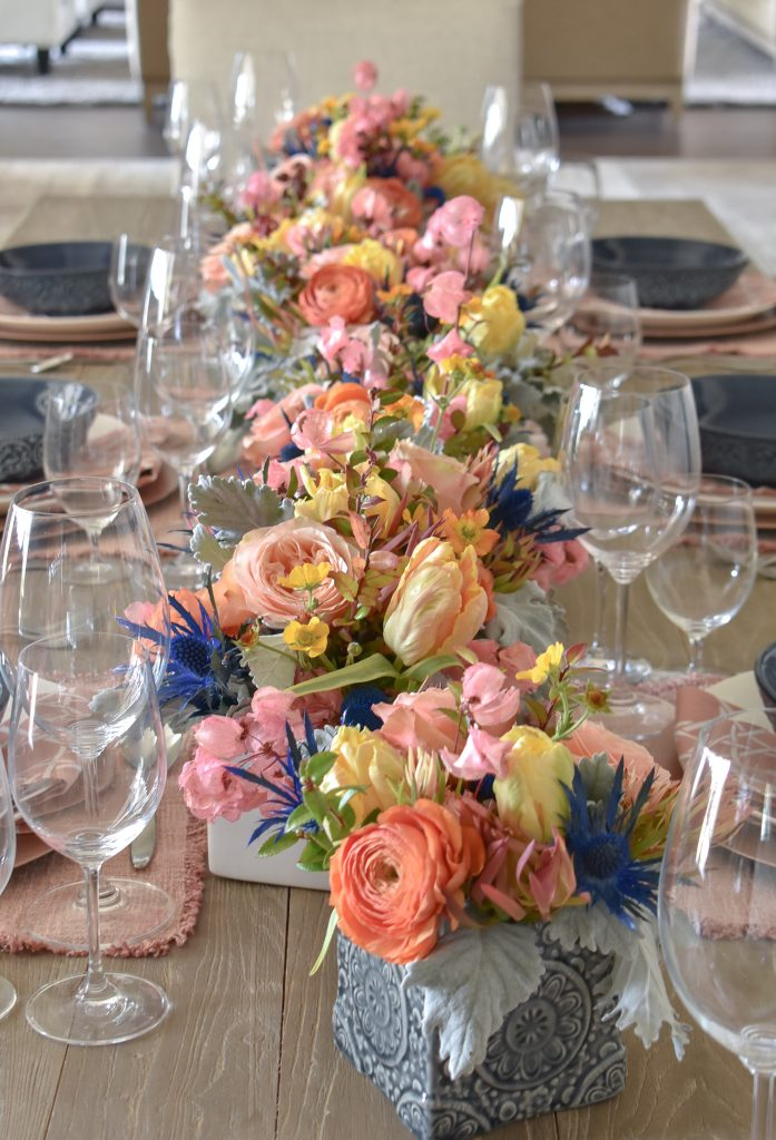 Blush Pink and Blue Spring Tablescape Flowers - Home with Holliday