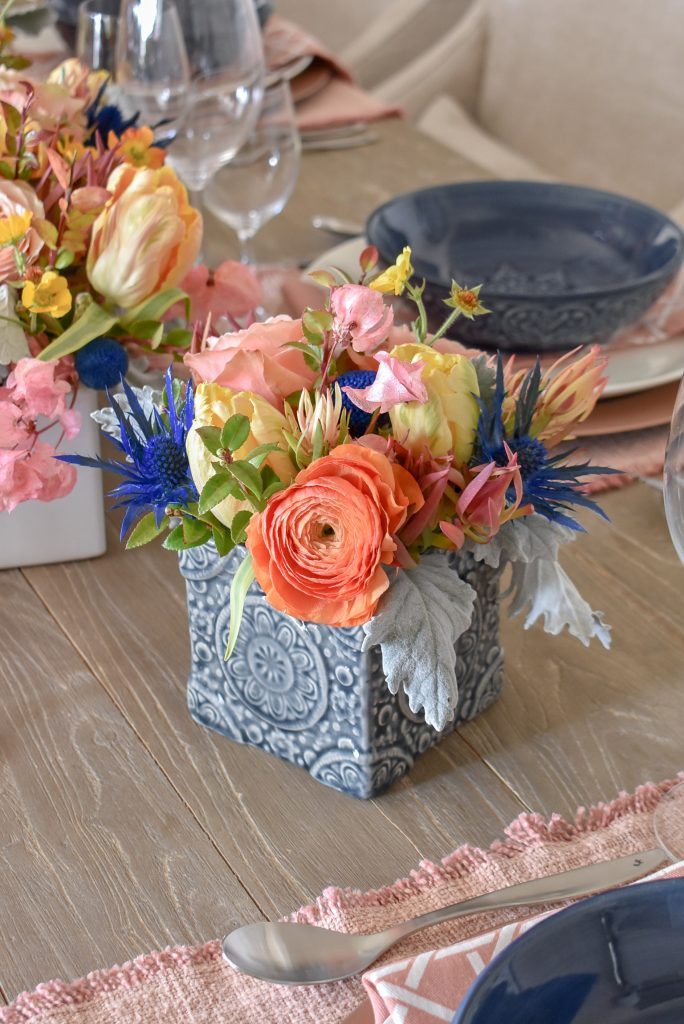 Flowers for My Blush Pink and Blue Spring Tablescape - Home with Holliday
