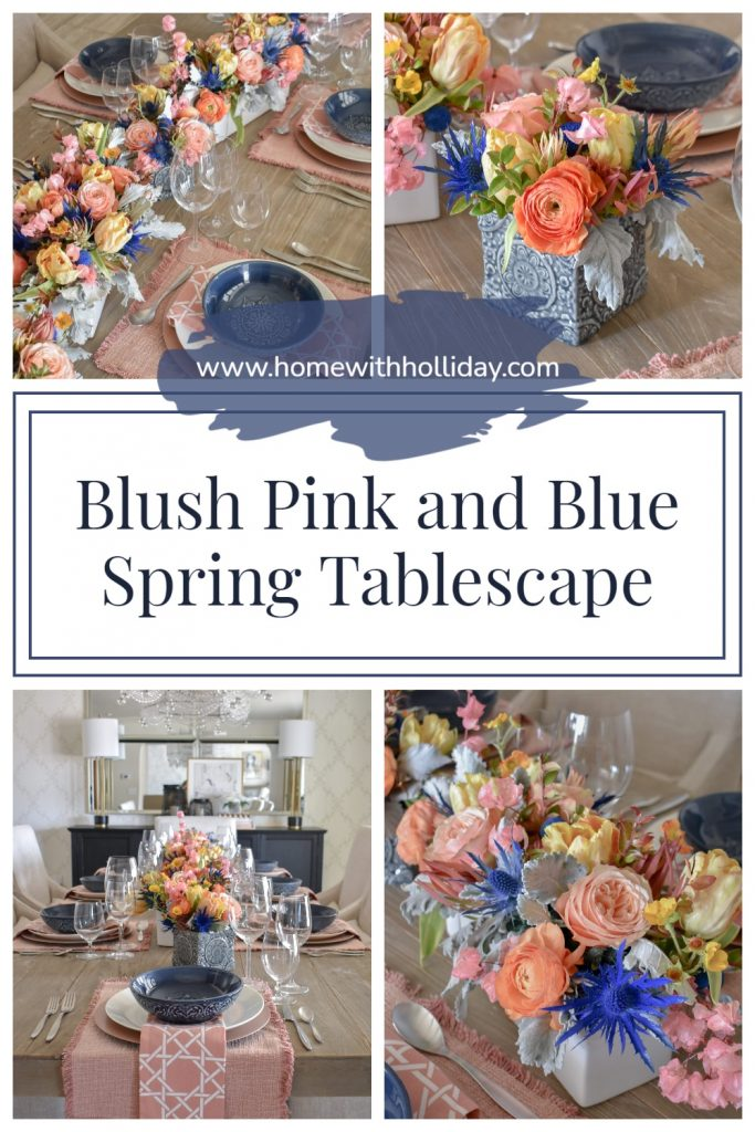 A Collage of a Blush Pink and Blue Spring Tablescape