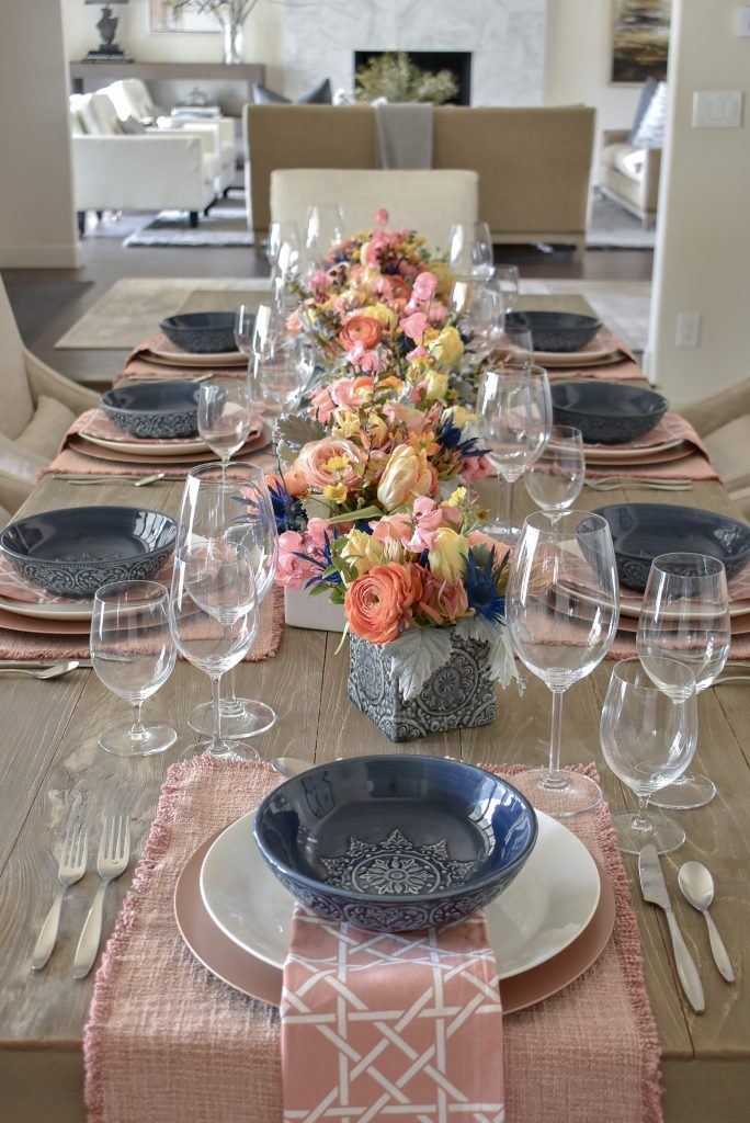 Our Blush Pink and Blue Spring Tablescape - Home with Holliday