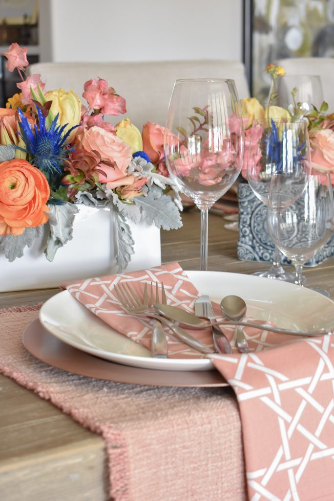 Blush Pink and Blue Spring Tablescape FOKS Flatware - Home with Holliday