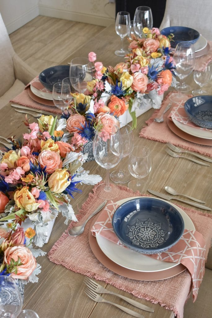 A Blush Pink and Blue Spring Tablescape - Home with Holliday