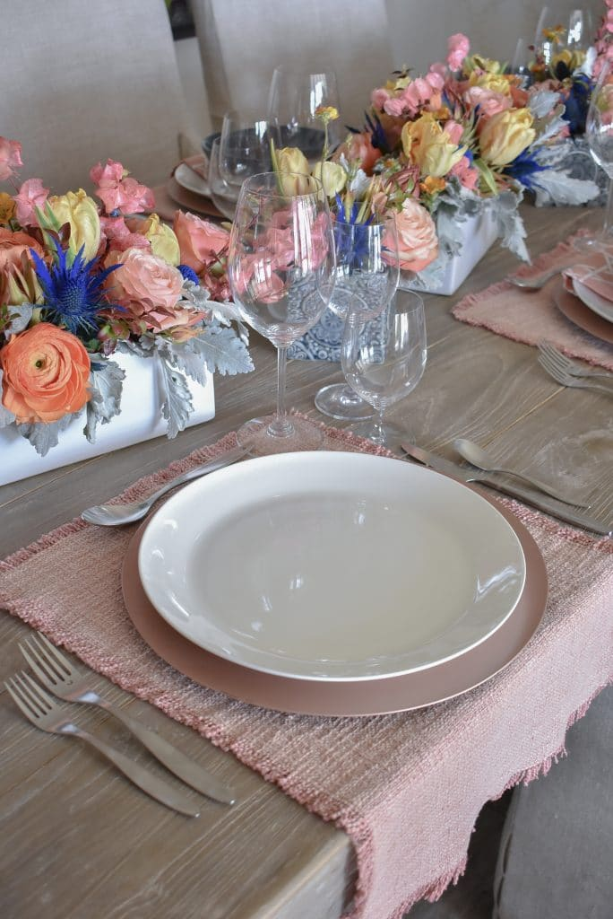 Blush Pink and Blue Spring Tablescape Dinner Plates - Home with Holliday