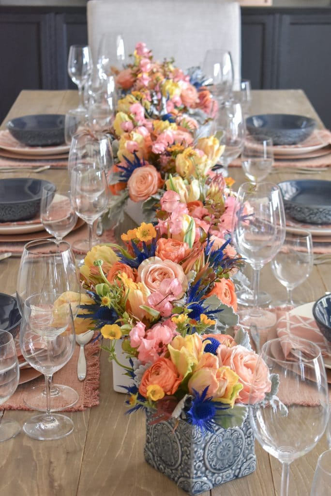 Lovely Blush Pink and Blue Spring Tablescape - Home with Holliday