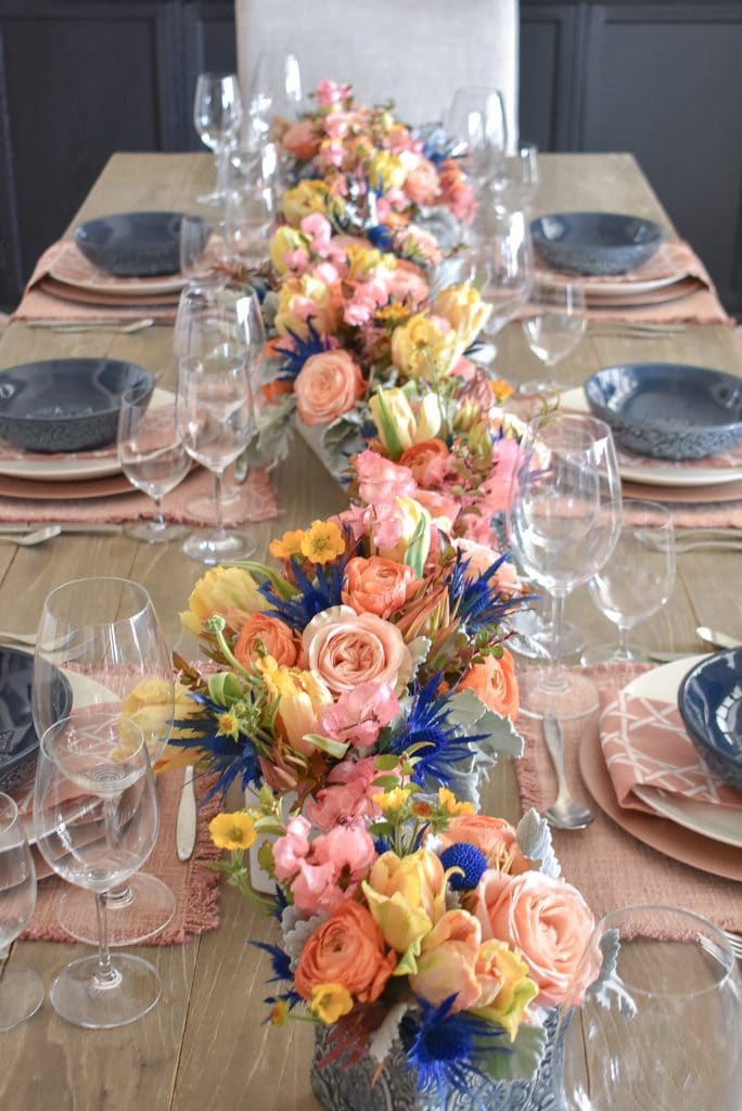 Flowers for a Blush Pink and Blue Spring Tablescape - Home with Holliday