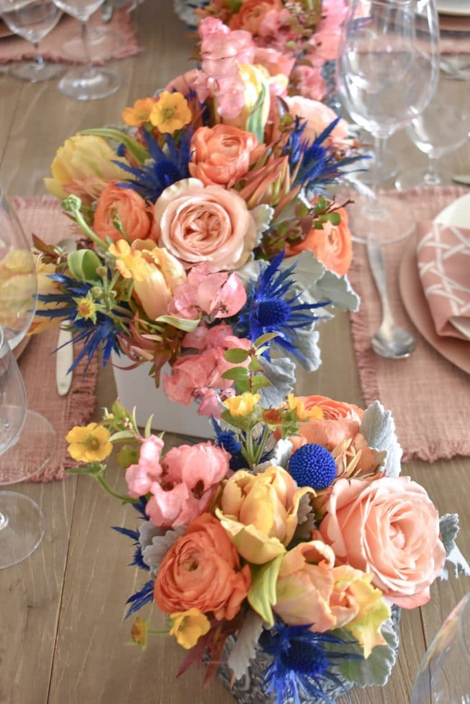 Blush Pink and Blue Spring Tablescape Flower Arrangements - Home with Holliday