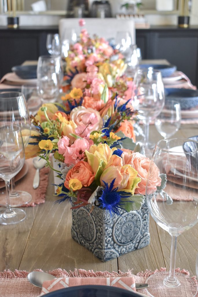 Elegant Blush Pink and Blue Spring Tablescape - Home with Holliday