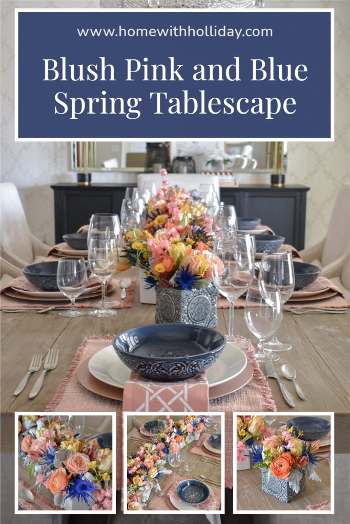 A Collage of Blush Pink and Blue Spring Tablescape