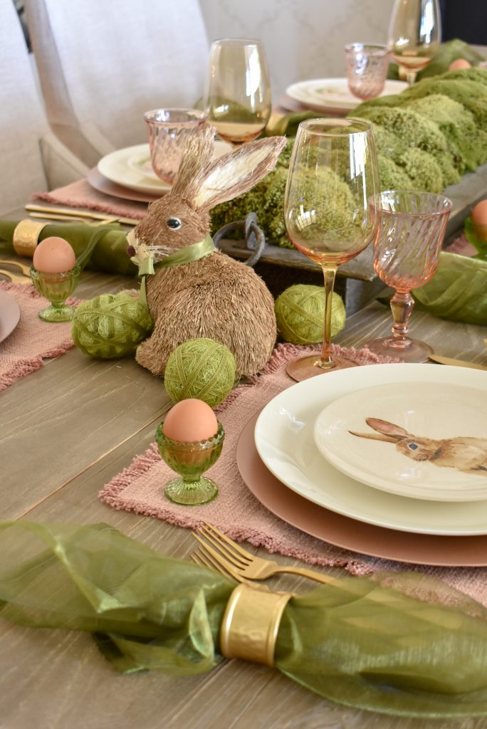 Simple Blush Pink and Green Easter Tablescape with Bunnies