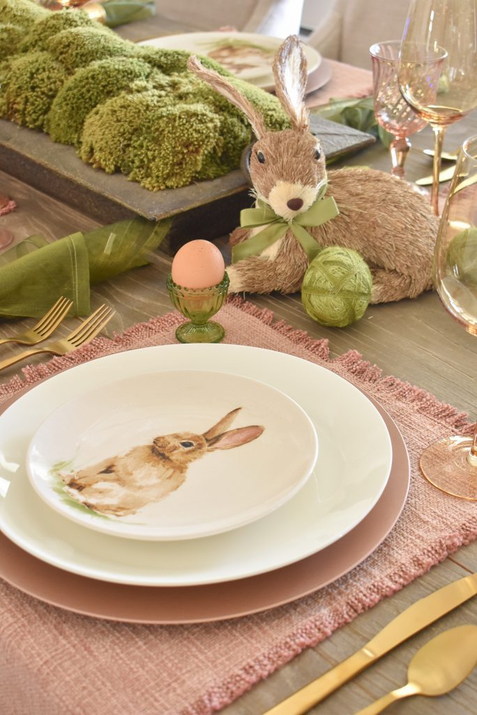 Blush Pink and Green Easter Tablescape Placesetting with Bunnies