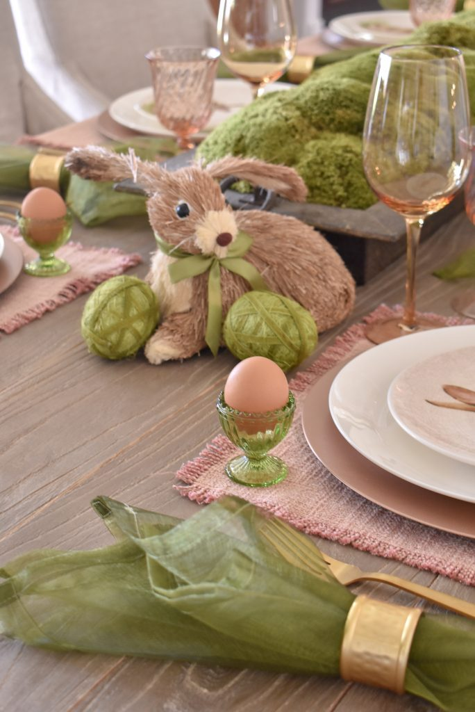 Blush Pink and Green Easter Tablescape Details