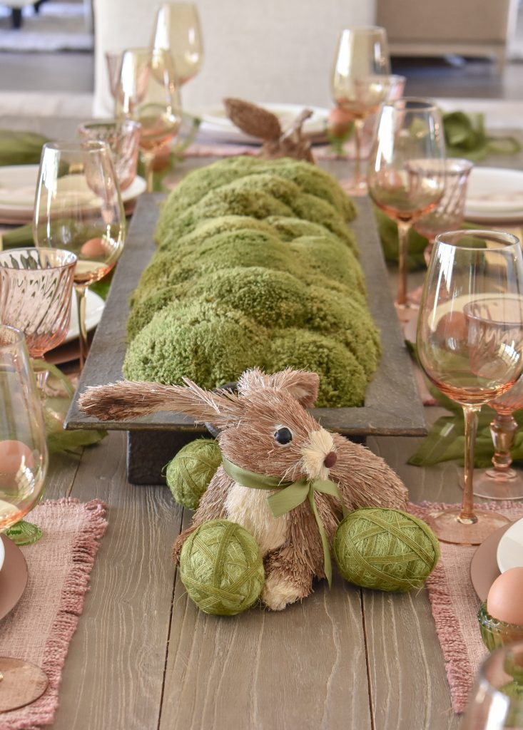 Blush Pink and Green Easter Tablescape Moss Centerpiece