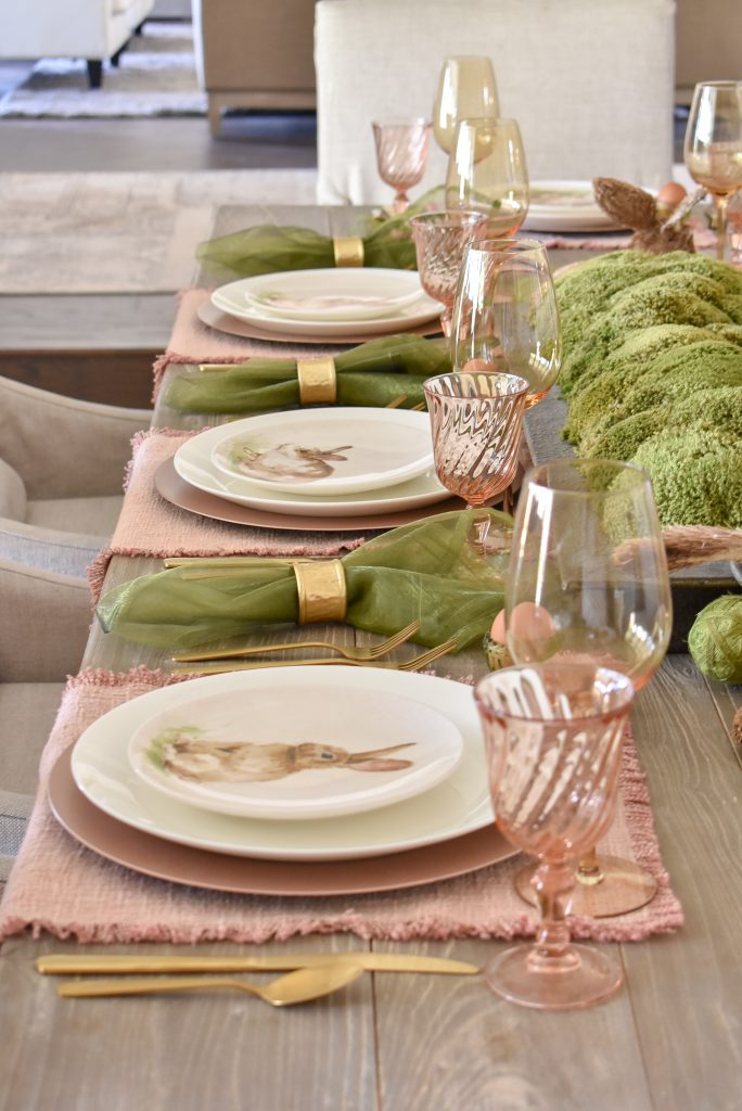 Side view of Blush Pink and Green Easter Tablescape Placesettings
