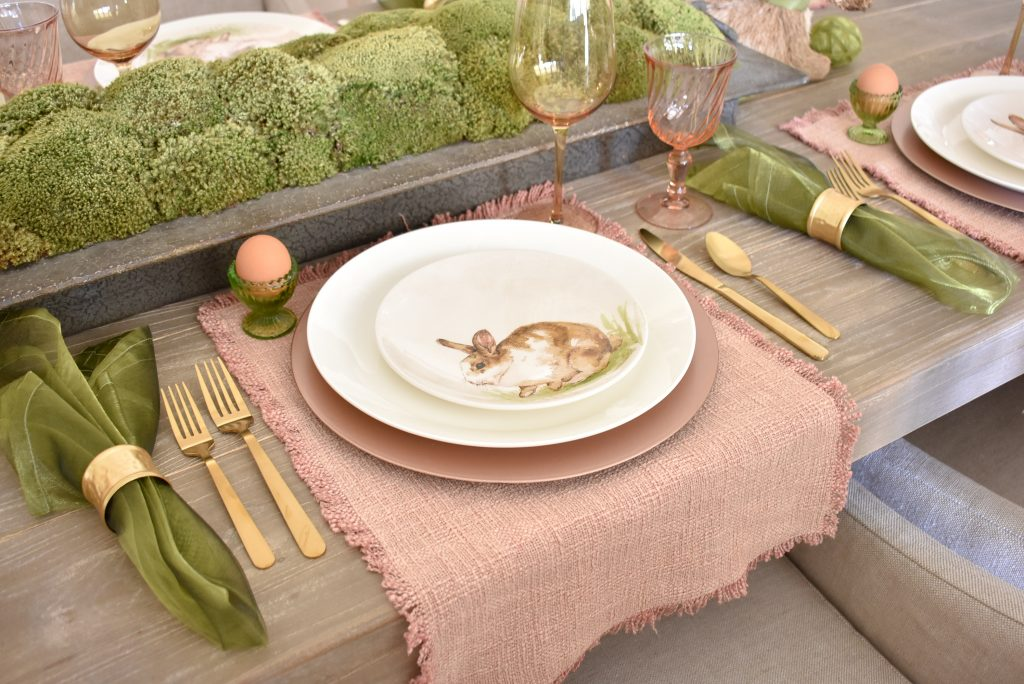Blush Pink and Green Easter Tablescape Placesettings with Gold Flatware