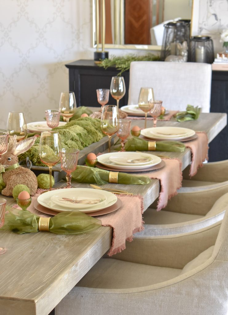 A Simple Blush Pink and Green Easter Tablescape with Eggs