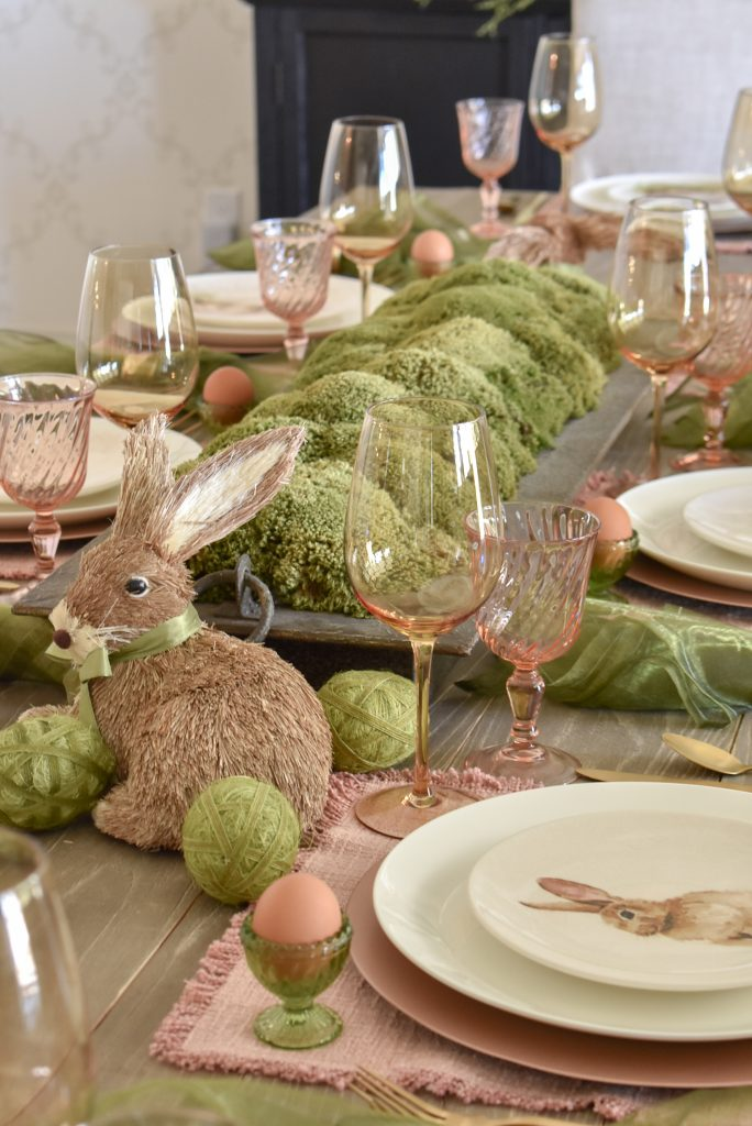 Moss Centerpiece for a  Blush Pink and Green Easter Tablescape