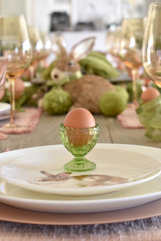 Blush Pink and Green Easter Tablescape Close-up