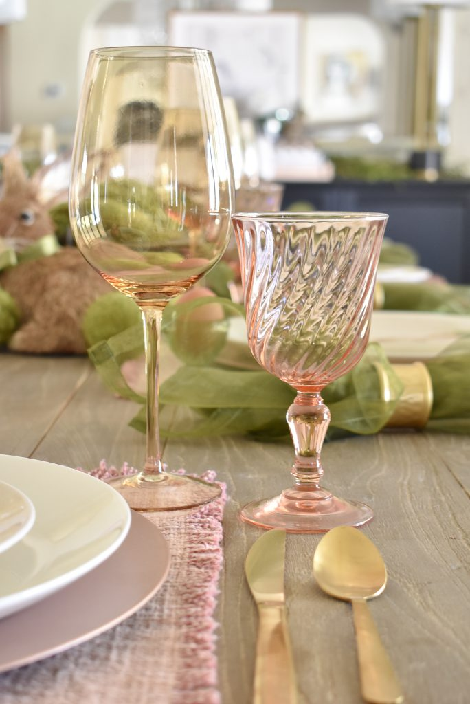 Blush Pink and Green Easter Tablescape Glassware