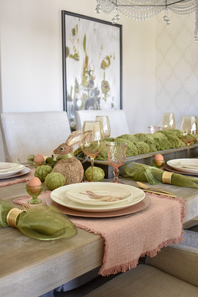 A Blush Pink and Green Easter Tablescape with Pink Placemats