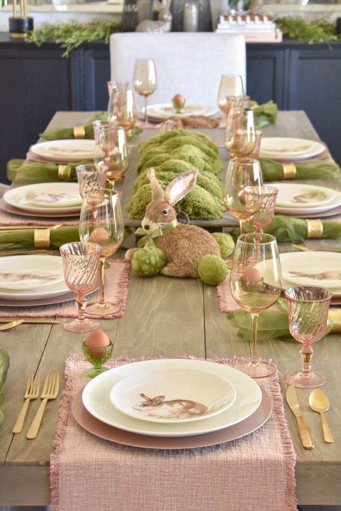 Blush Pink and Green Easter Tablescape with Bunnies