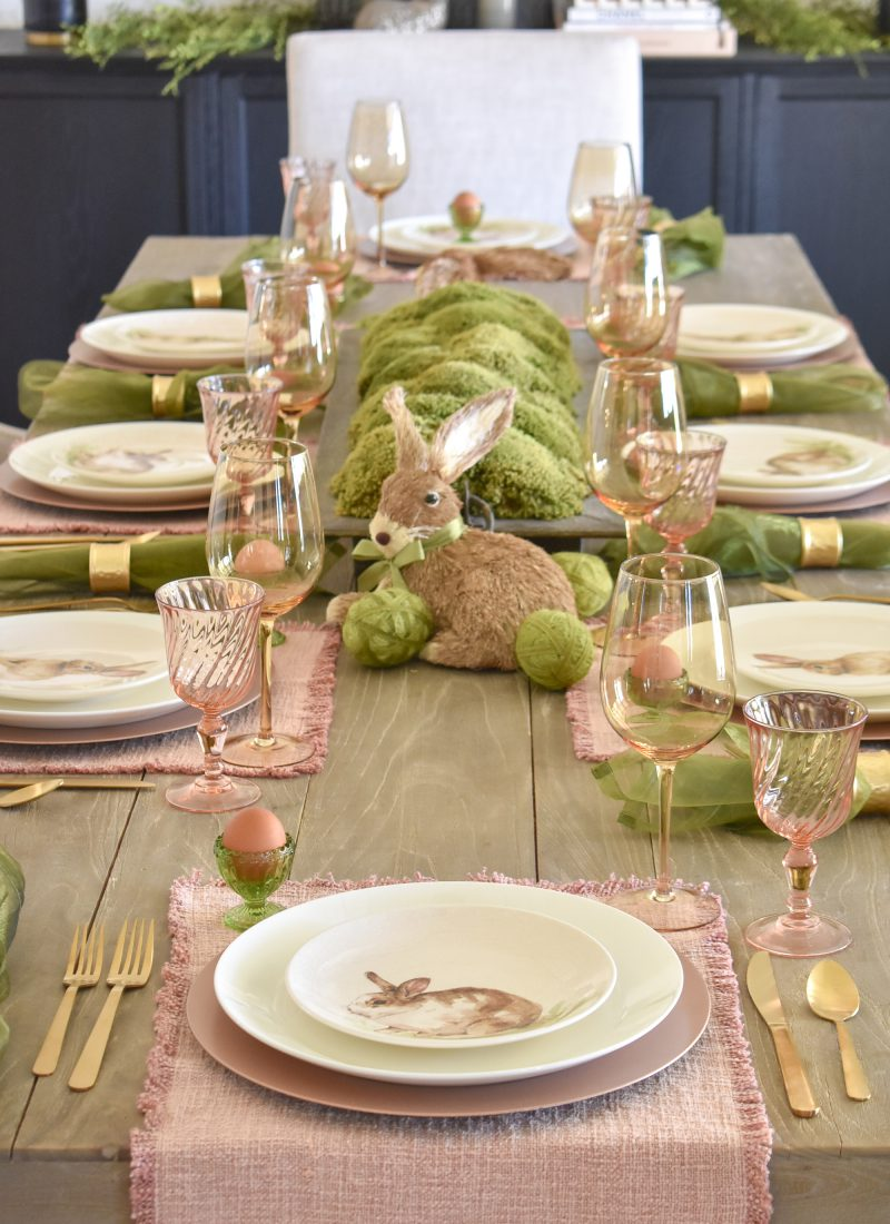 Blush Pink and Green Easter Tablescape - Home with Holliday