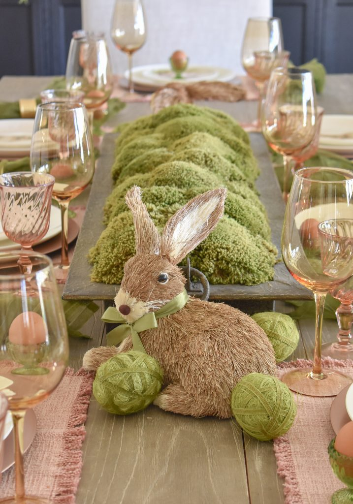 Green moss centerpiece for Blush Pink and Green Easter Tablescape