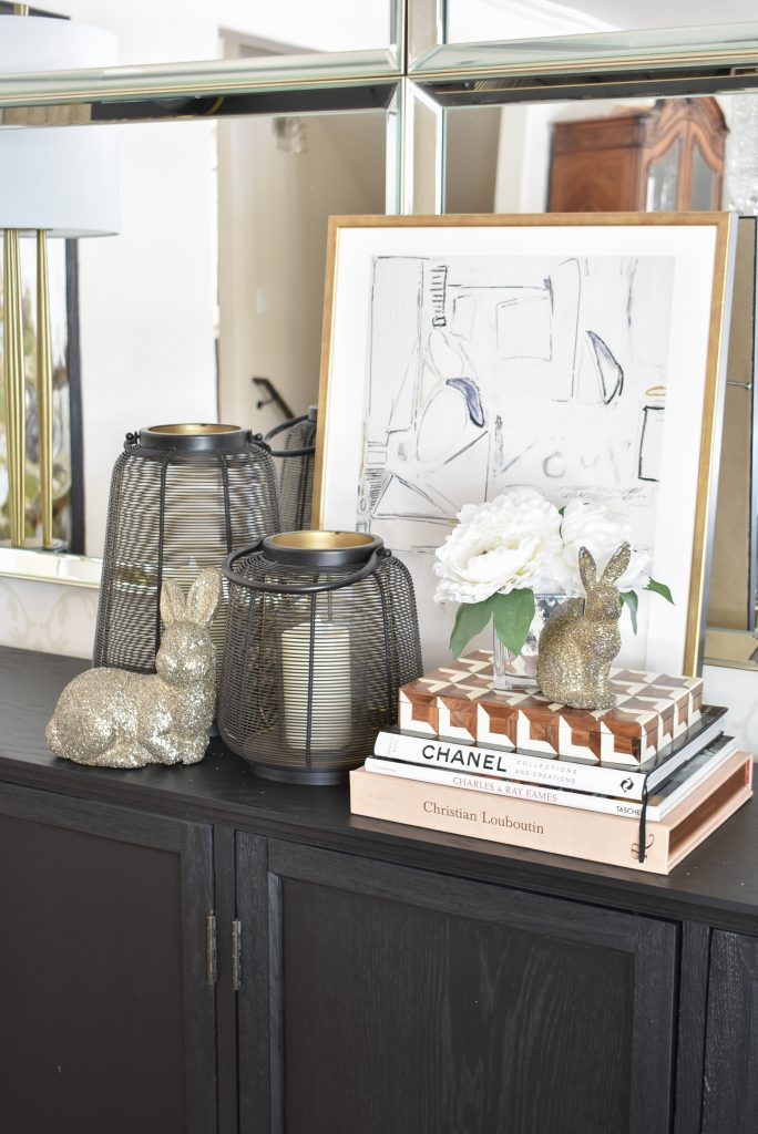 Contemporary Simple Green and White Easter Décor BEFORE - Home with Holliday