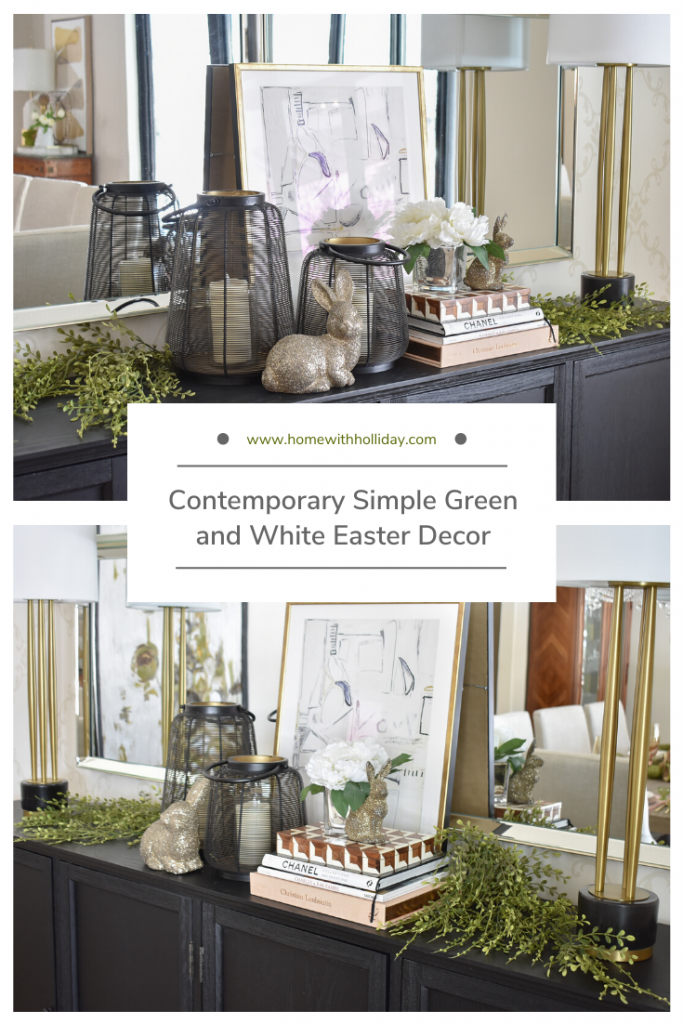 Contemporary Simple Green and White Easter Decor