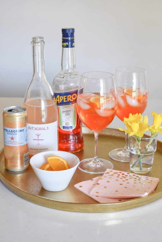 A Sparkling Rose Aperol Spritz - Home with Holliday