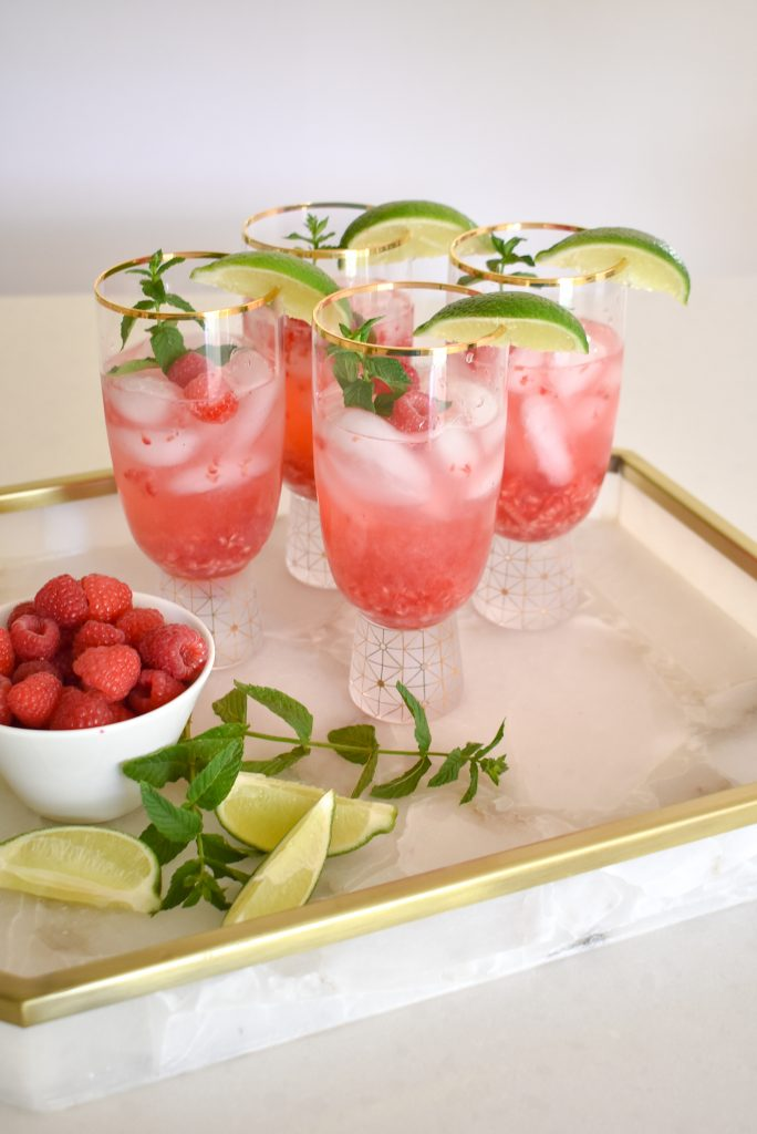 Raspberry Vodka Spritzer with Mint and Lime