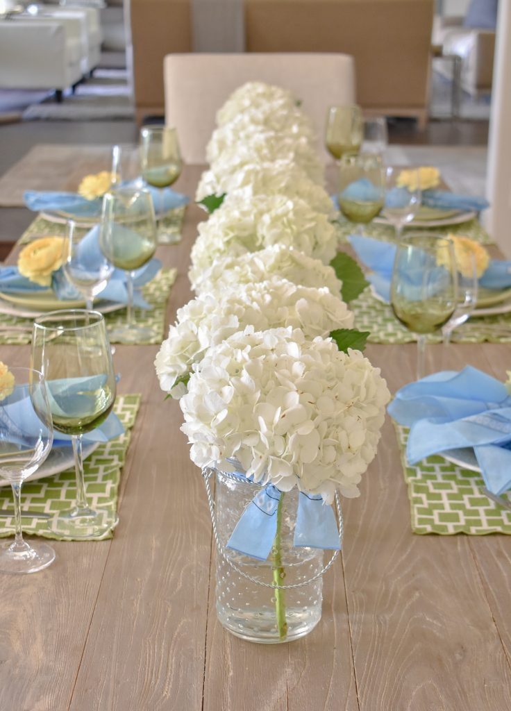 A Simple and Bright Summer Tablescape with Hydrandea Centerpiece