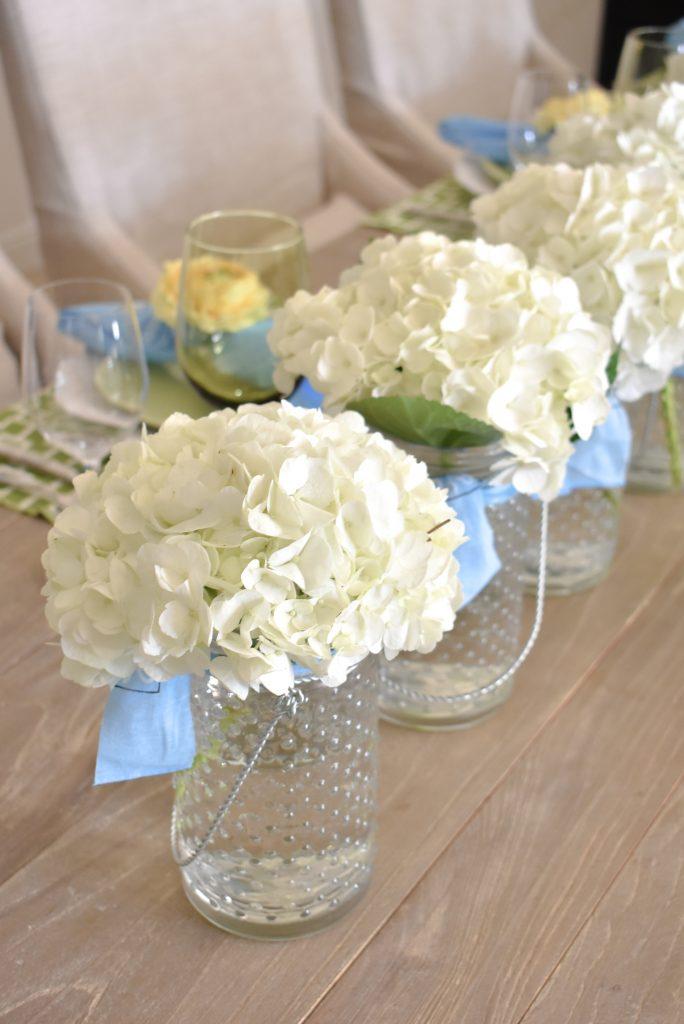 White Hydrandea Centerpiece for a Summer Tablescape