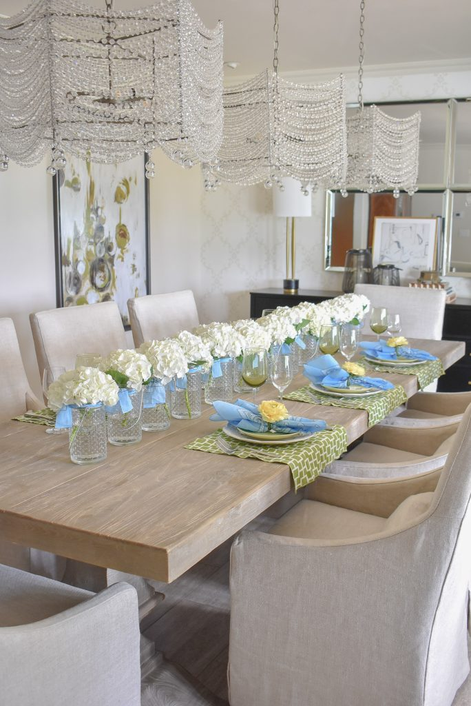 Simple and Bright Summer Tablescape with Hydrandea Centerpiece