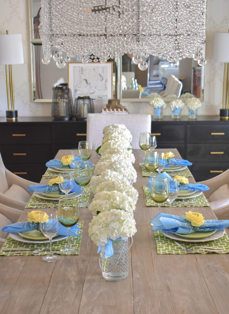 Green, Blue and Yellow Bright Summer Tablescape