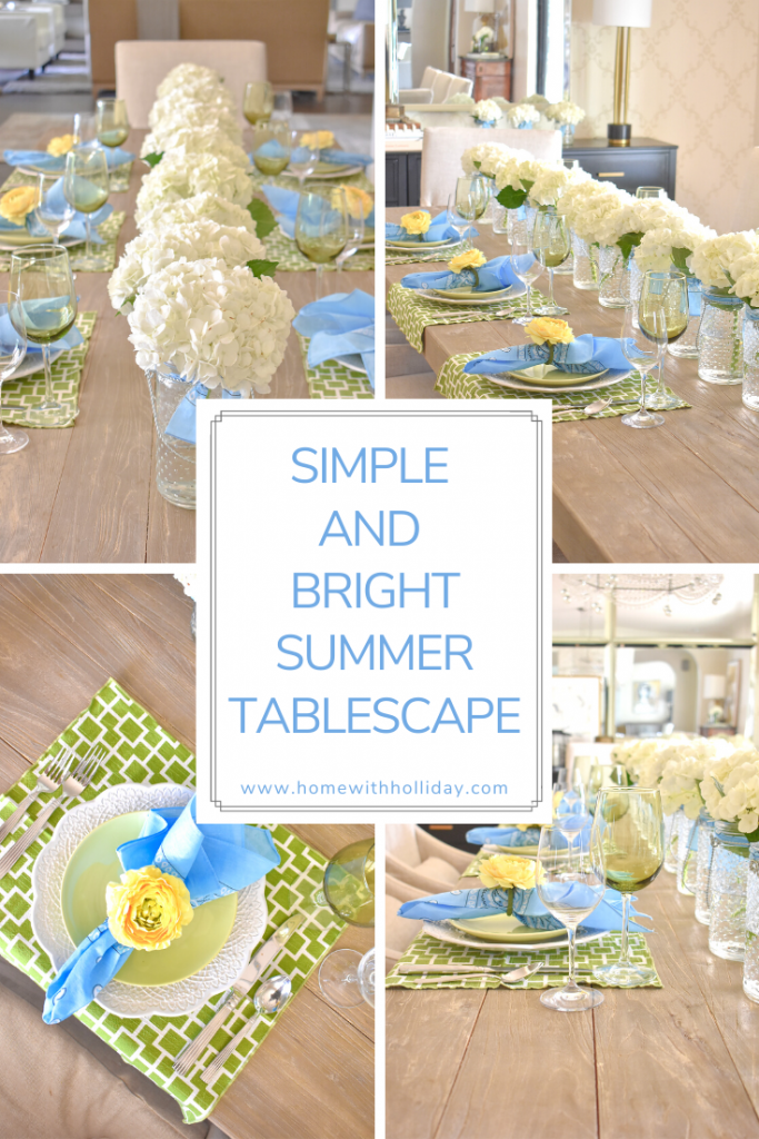 Collage of a Simple and Bright Summer Tablescape