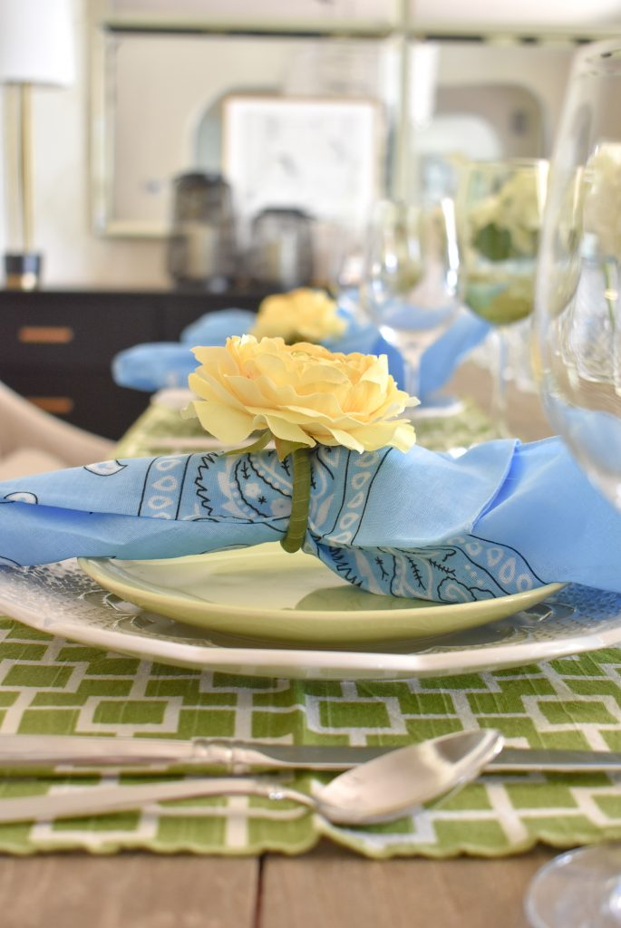 Green, Blue and Yellow Summer Tablescape Place Settings