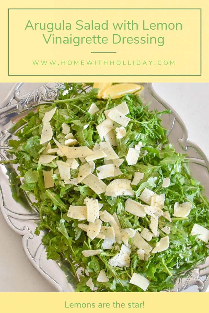 A Simple Arugula Salad with Lemon Vinaigrette Dressing