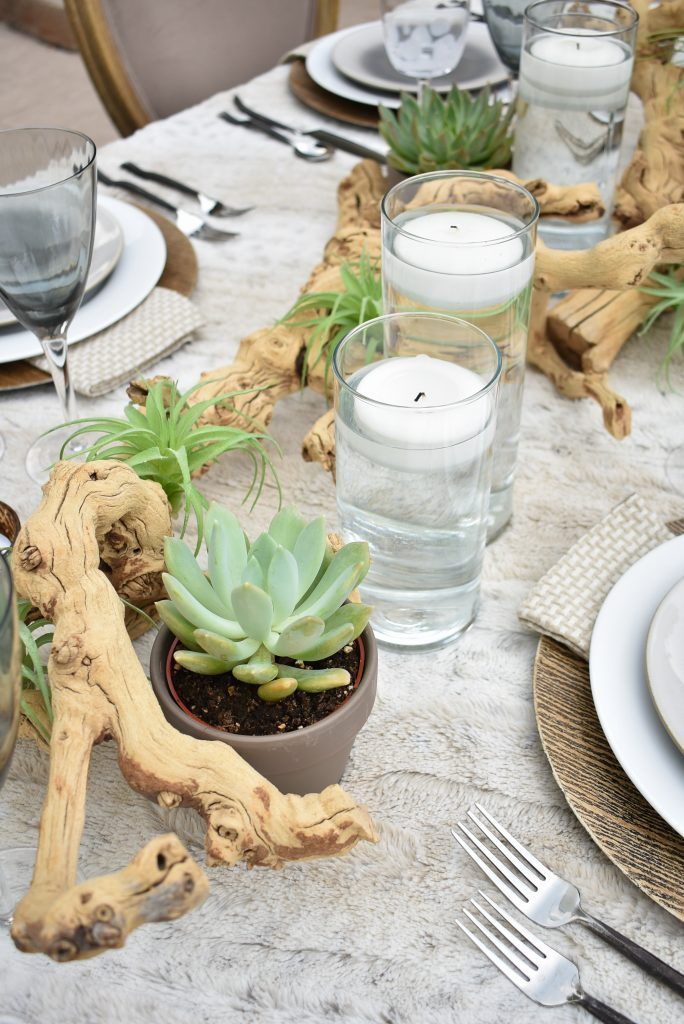 Grapewood Centerpiece on a Neutral Alfresco Dining Tablescape with neutral colors and succulents