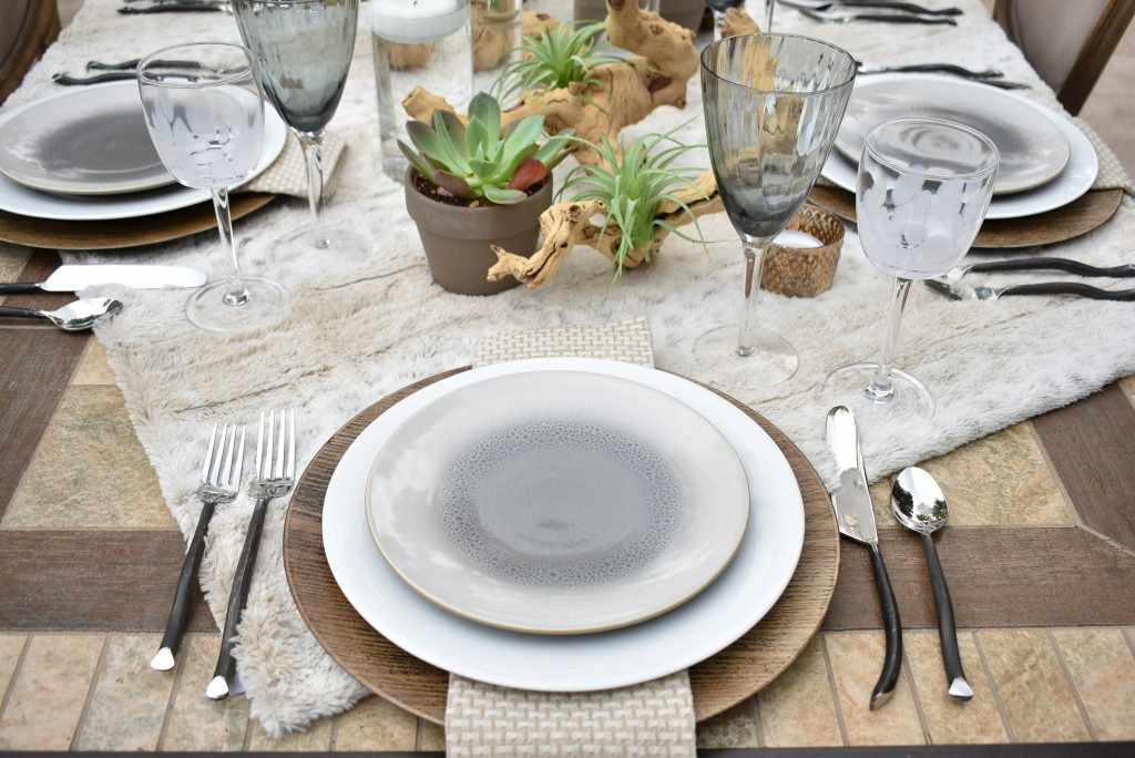 Place Setting on a Neutral Fall Alfresco Dining Tablescape with neutral colors and succulents