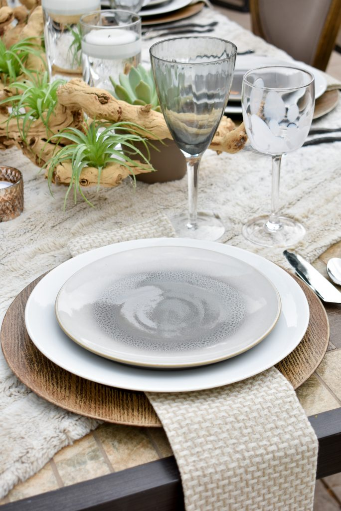 A Place Setting on an Neutral FallAlfresco Dining Tablescape