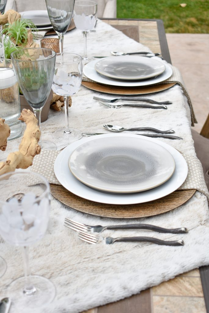 Side view of a Neutral Fall Alfresco Dining Tablescape
