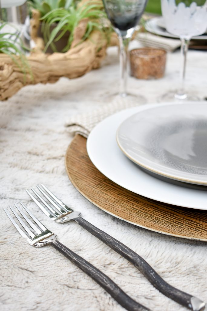 Twig Flatware on a Neutral Fall Alfresco Dining Tablescape with neutral colors and succulents