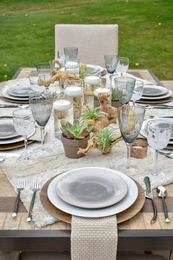 Alfresco Dining Tablescape with neutral colors and succulents