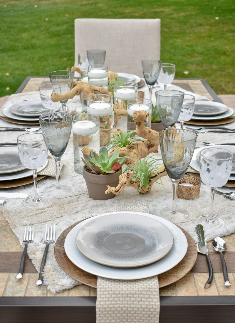Neutral Fall Alfresco Dining Tablescape